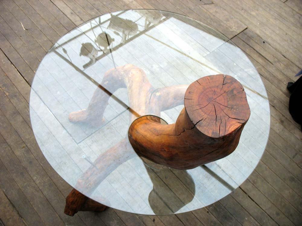 Tafel van een Appelstam met glazen blad